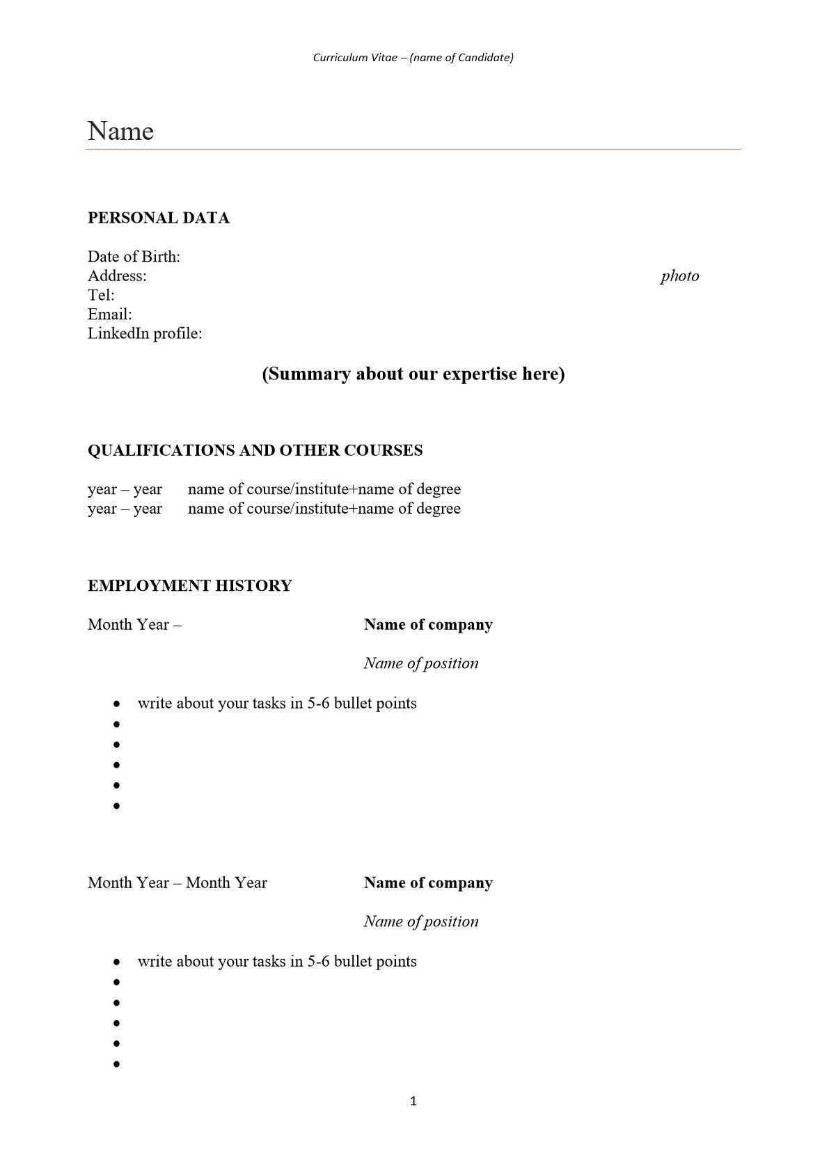 CV minták 2